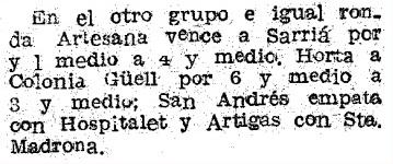 Recorte de Mundo Deportivo del 22 de febrero de 1952