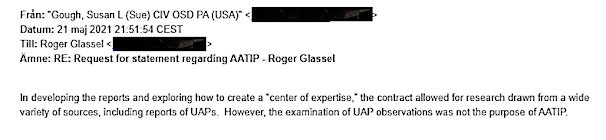 To Roger Glassel From Suan Gough - Request for Statement Re AATIP 5-21-21