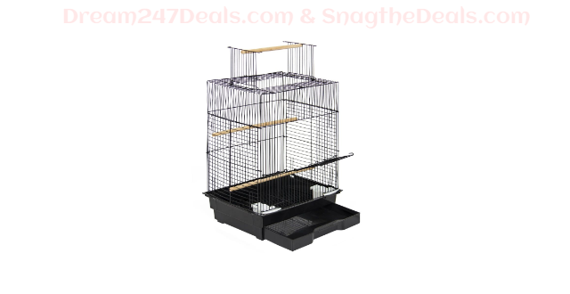 "24"" Bird Cage w/ Open Play Top - Black"