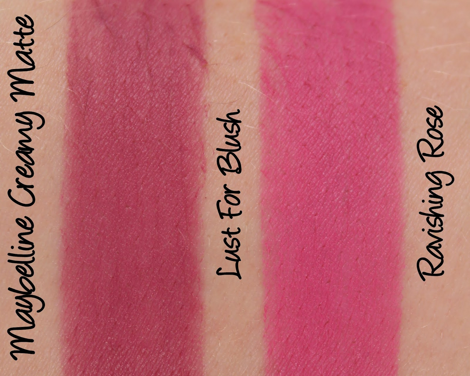 Maybelline Colorsensational Creamy Matte Lipsticks Lust For Blush & Ravishing Rose Swatches & Review