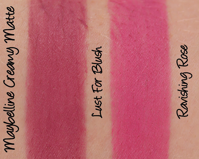 Maybelline Colorsensational Creamy Matte Lipsticks - Lust For Blush & Ravishing Rose Swatches & Review