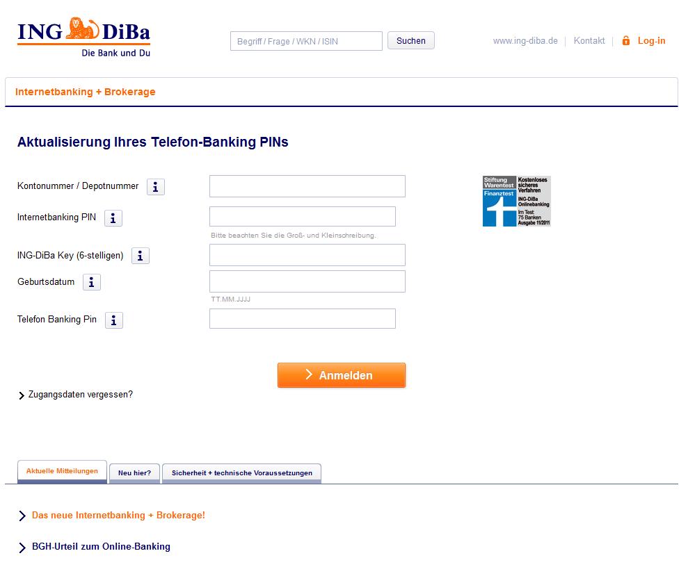 phishing mail alerts ihre ing diba konto wird suspendiert. Black Bedroom Furniture Sets. Home Design Ideas