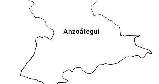 La cartografía: Mapa del Estado Anzoátegui (Venezuela) para colorear