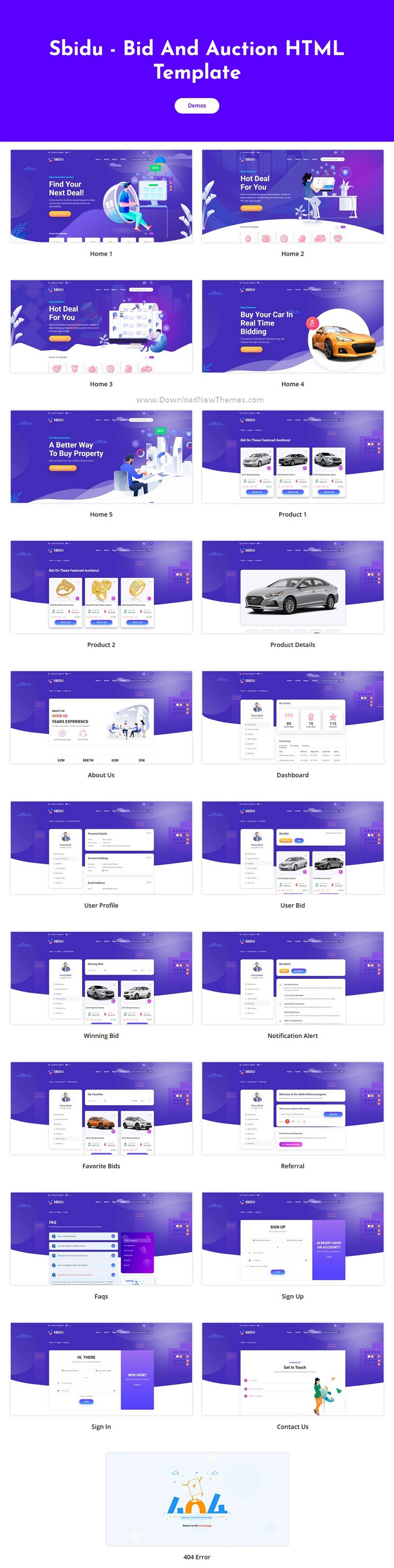 Bid And Auction Website Template