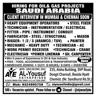 Hiring for Oil and Gas Projects in Saudi Arabia