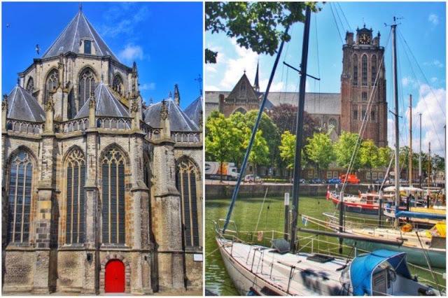 Grote Kerk – Barcos frente a Grote Kerk en Dordrecht