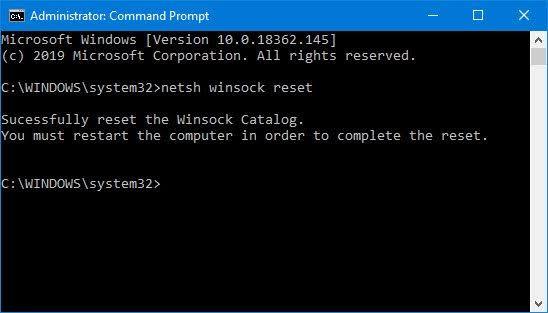 Winsock Sıfırlama