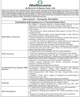 Recruitment  Degree, Diploma and ITI Holders For Thermal Power Plant - Hofincons Tornagallu, Karnataka