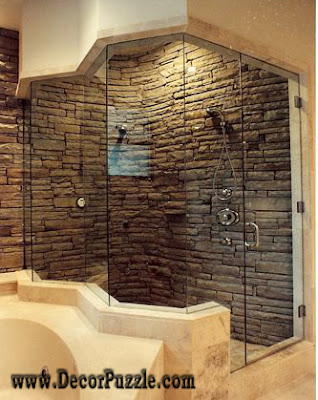shower tile ideas, shower tile designs, tiling a shower, stone tile shower