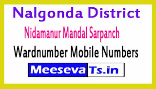 Nidamanur Mandal Sarpanch Wardmumber Mobile Numbers List Part II Nalgonda District in Telangana State
