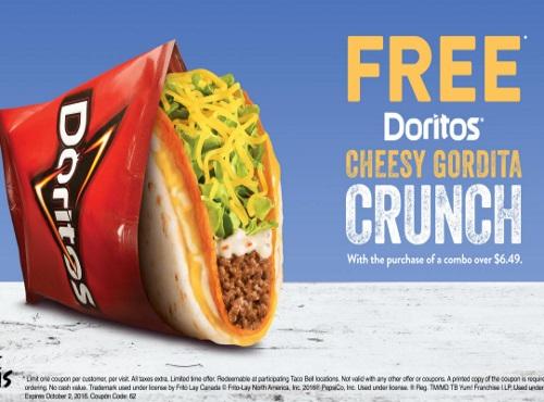 Taco Bell Free Doritos Cheesy Gordita Crunch Coupon