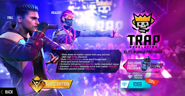 Hadiah Pre order Elite Pass Season 21 Trap Revolution Free Fire