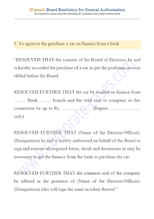 board resolution format for car loan from bank