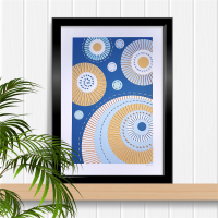Modern abstract teal background with circles A4 stitching on card paper pricking hand embroidery pattern for framed wall art picture making.