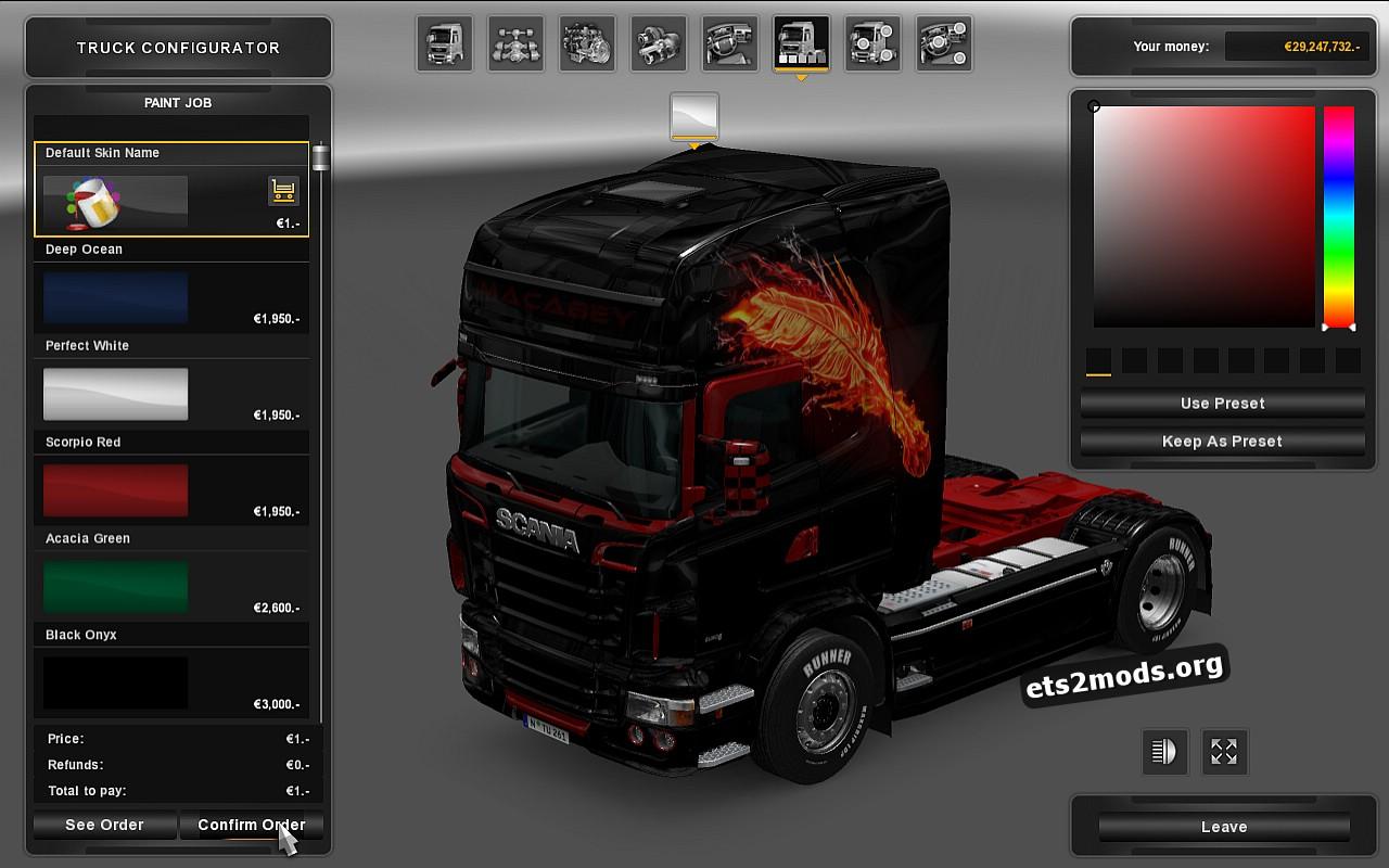 Scania RJL Maca Bey Fiery Feather Skin