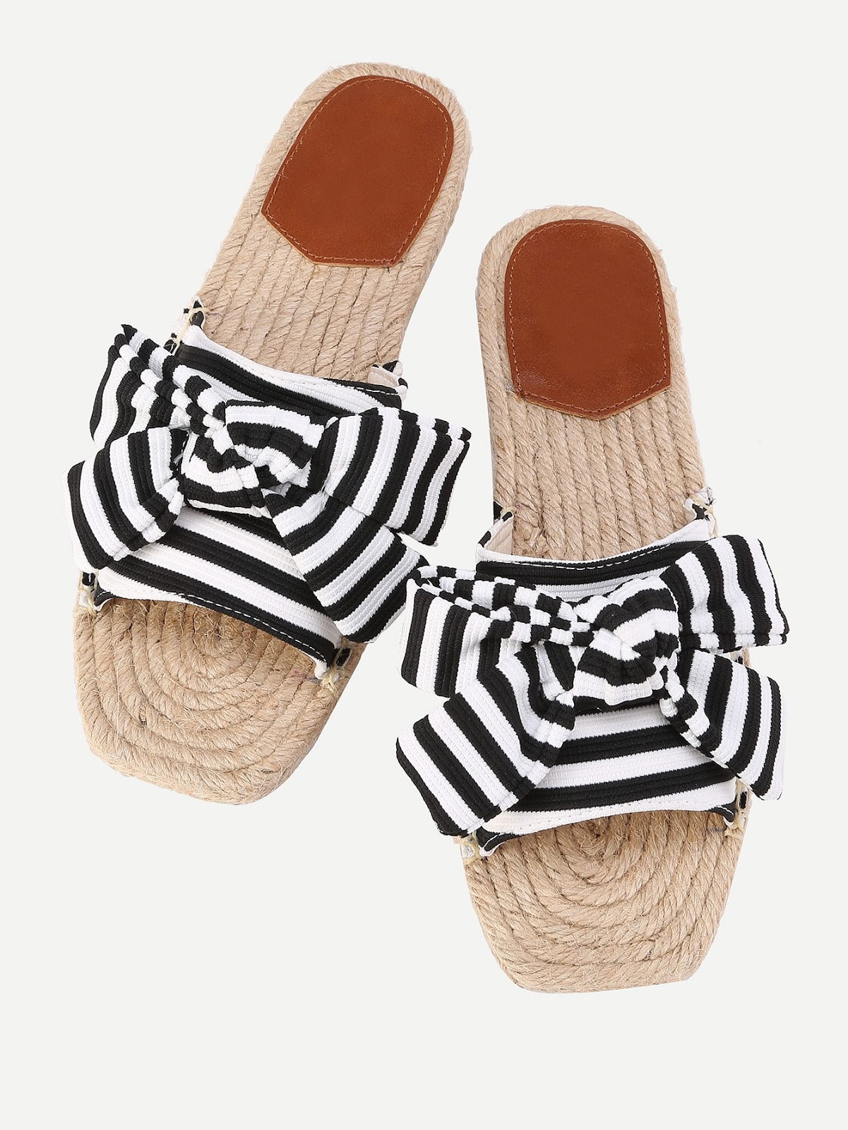 Bow Tie Striped Flat Sliders