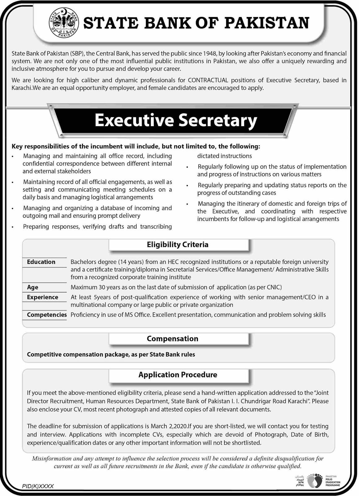 State Bank of Pakistan SBP Jobs 2020