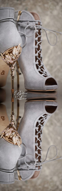 Ralph & Russo Eden open toe moonshadow grey ankle boot #brilliantluxury