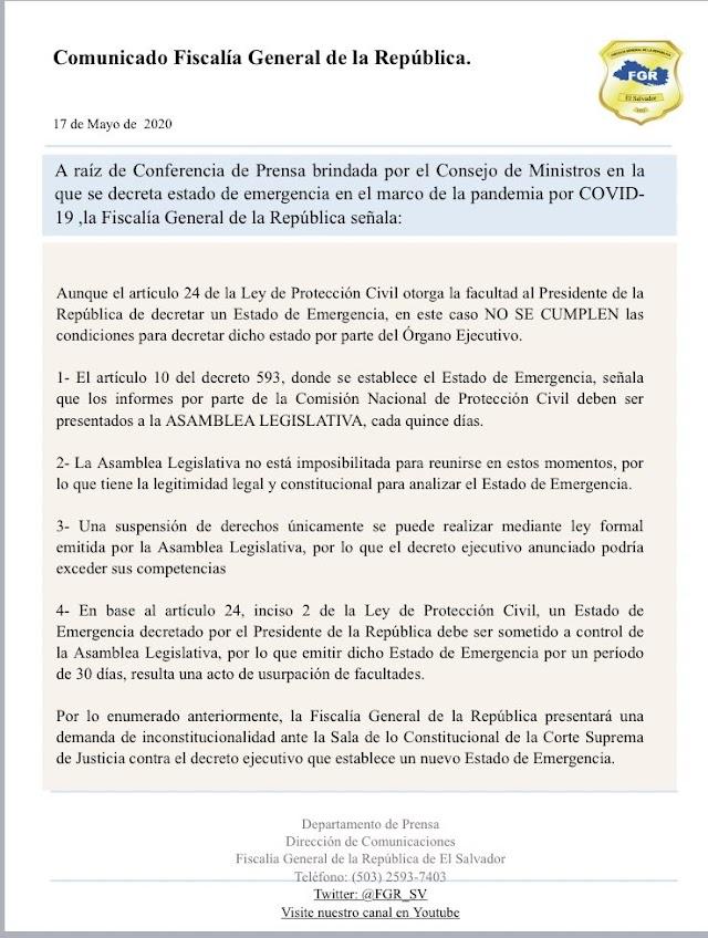 Fiscalía General de la República se pronuncia ante Estado de Emergencias