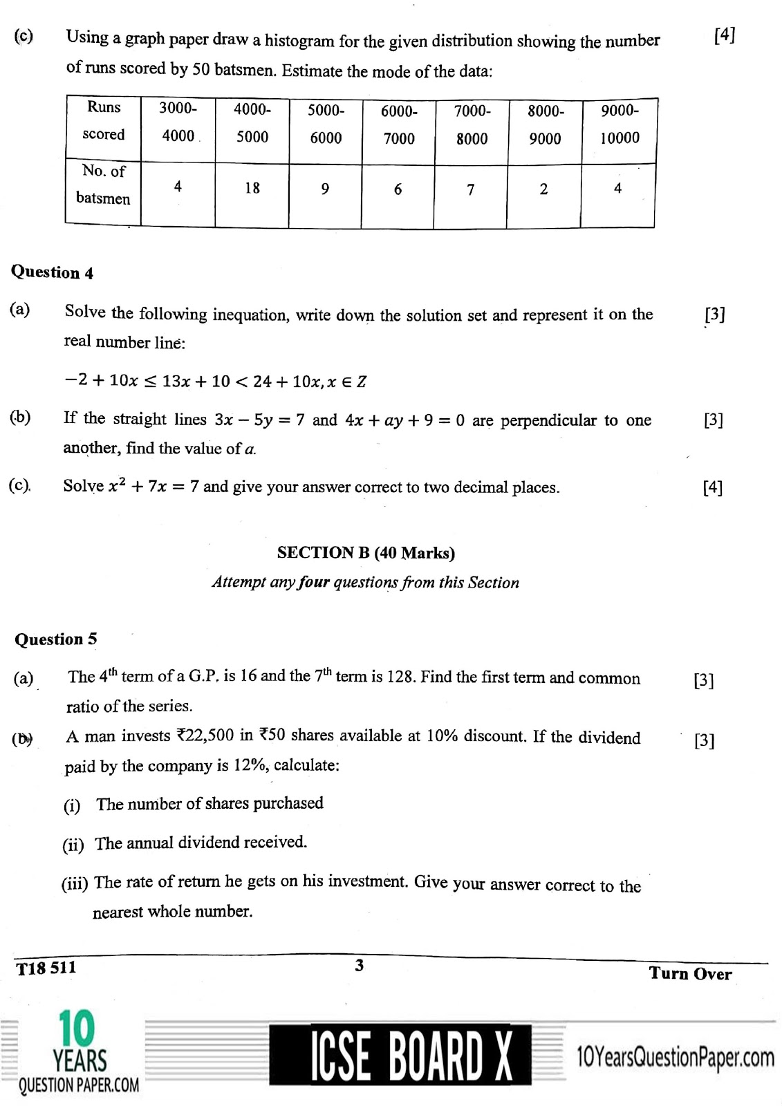 ICSE Board 2018 Mathematics Question paper page-03