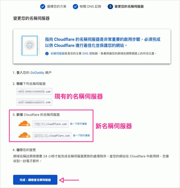 Cloudflare 新名稱伺服器