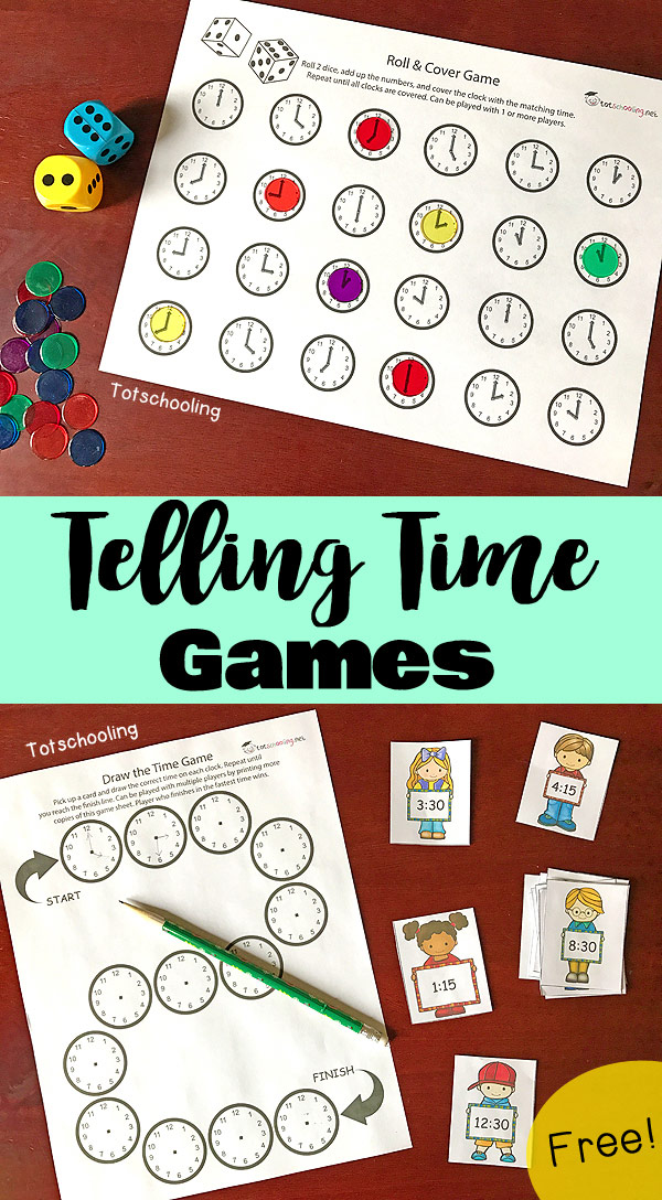 FREE printable games for kids to learn how to tell time and read a clock. Features a roll & cover game and a draw the time game. Also featuring a FREE interactive app from TIMEX to practice time-telling concepts.