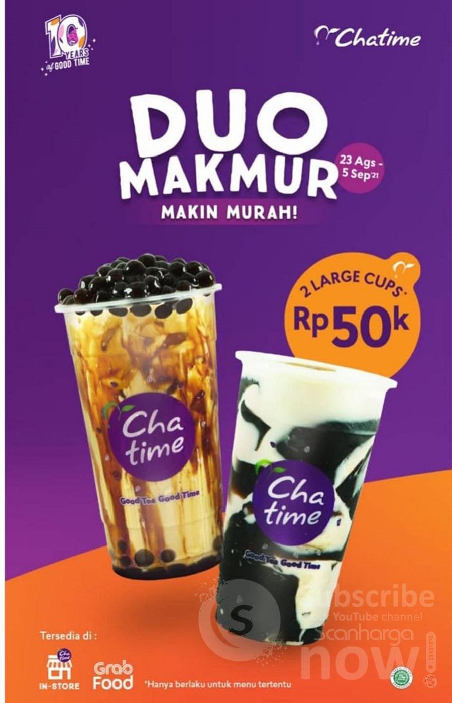 CHATIME DUO MAKMUR Promo 2 Large Cup cuma 50K