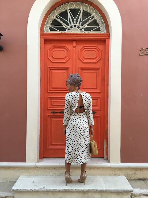 Lefkada, Greece, how to wear open back, open back dress, how to wear midi dress, wicker bag, vintage wicker bag, polkadot dress, best canadian fashion blogger, blogger midi dress, fashion blogger style dress