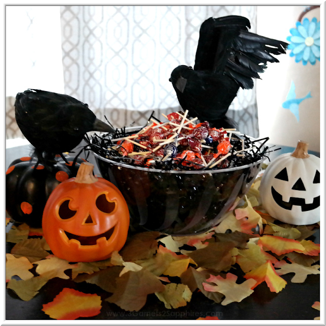 Easy Black Crow's Nest Halloween Candy Bowl Centerpiece  |  3 Garnets & 2 Sapphires