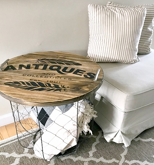 Stenciled Tray and Side Table Storage