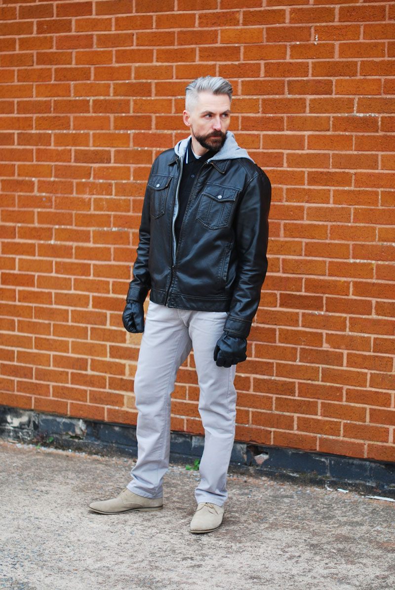 Menswear: Grey marl hoodie and leather jacket