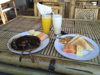 menu sarapan di beda bungalow gili air