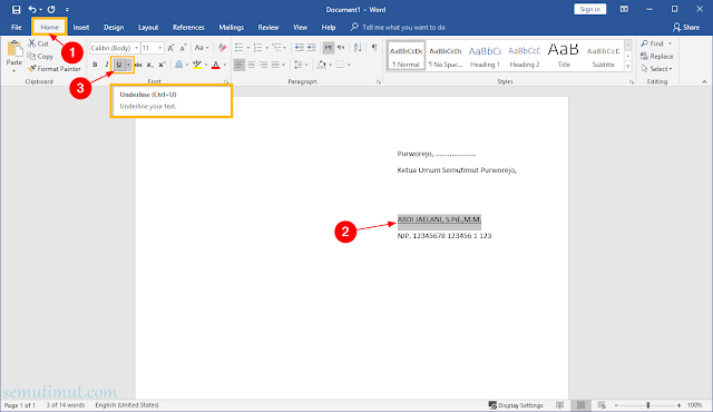 cara membuat garis di ms word