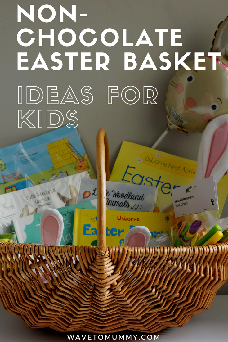 Ideas for non-chocolate Easter gift basket, perfect for three year old kids - and toddlers and other young children. Book recommendations, ideas for craft items, decorations and other fun stuff!