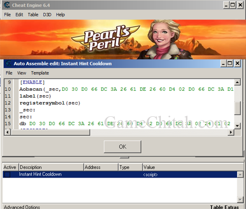 Pearl's Peril Cheats using Cheat Engine