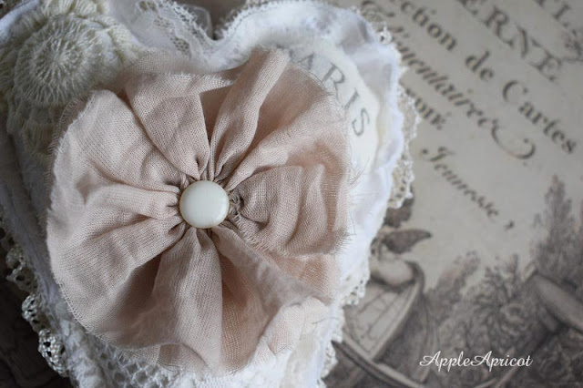 fabric flower on lace heart by AppleApricot