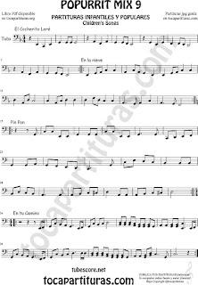 Mix 9 Partitura de Tuba Elicón (o Bajo Metal) El Cocherito Leré Infantil, En la Nieve, Pin Pon, En tu camino Popurrí Mix 9 Sheet Music for Tuba Music Scores