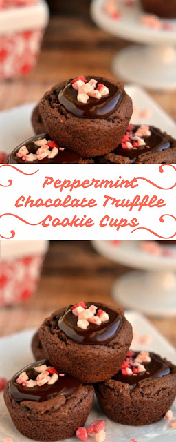 Peppermint Chocolate Truffle Cookie Cups #christmas #cookies