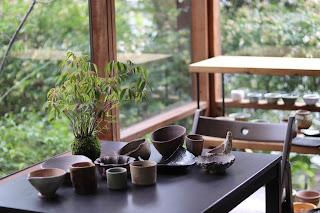 ハゼノキの苔玉と鉢作家さんの作品の集合写真