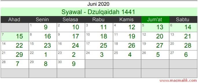 Kalender Islam Tahun 2020, Juni