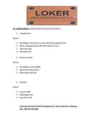 Lowongan Kupang CV Indah Karya