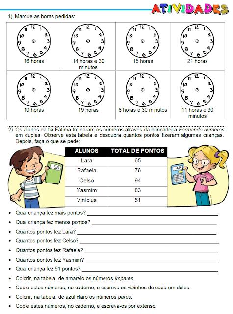 Atividades - Hora, Tabela, Dezena e Sequência - página 1