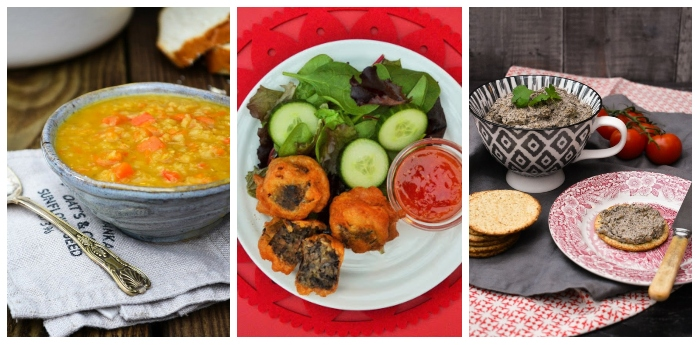 Scottish starters - lentil soup, haggis bites and mushroom & chestnut pate