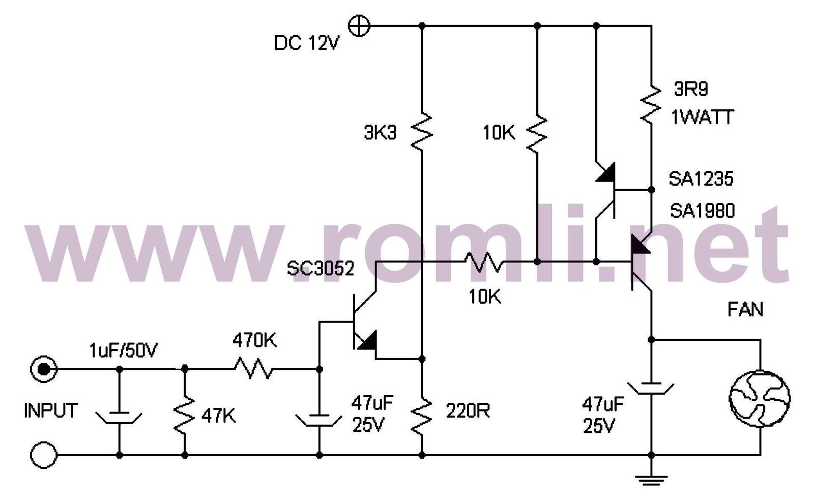 Skema rangkaian kipas angin untuk power amplifier