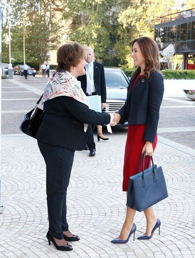 Crown Princess Mary wore Dolce and Gabbana red scoop neck wool crepe dresss and Gianvito Rossi Pumps, Prada bag