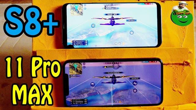 تحدي بين iPhone 11 Pro Max vs Galaxy S8 PLUS أيهما الاسرع في تشغيل لعبة فري فاير