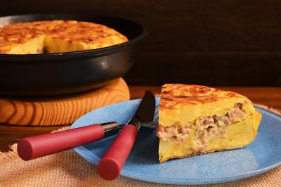 Tortilla de ternera al queso azul