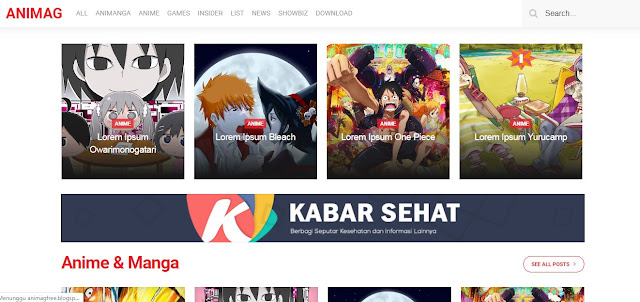 Animag - Template Blogger Khusus Anime