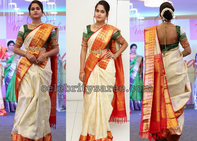 Shravya Off White Traditional Saree