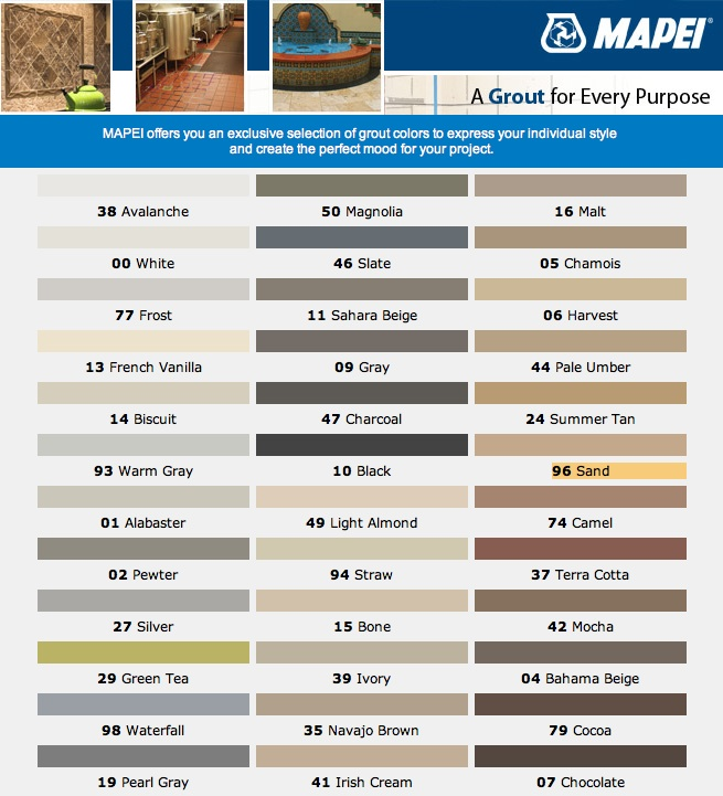 Grout Color Matching Chart Homeschoolingforfree
